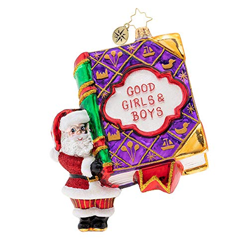 Christopher Radko Hand-Crafted European Glass Christmas Decorative Figural Ornament, Good Girls and Boys Book!