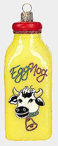 Pinnacle Peak Trading Company Jug of Eggnog Polish Mouth Blown Glass Christmas Ornament Egg Nog Decoration