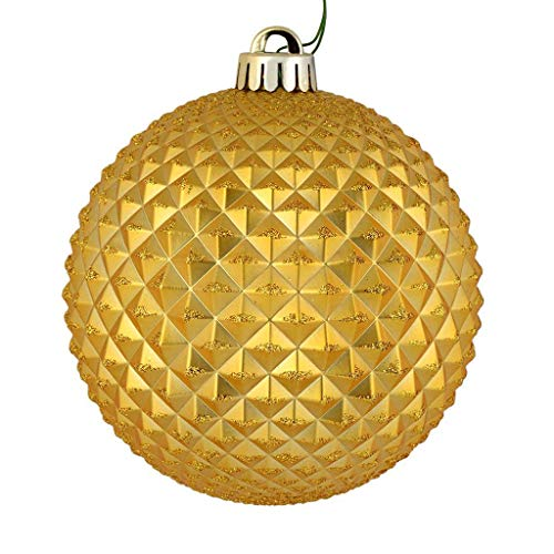 Vickerman 573143-6″ Honey Gold Durian Glitter Ball Christmas Tree Ornament (4 pack) (N188737D)