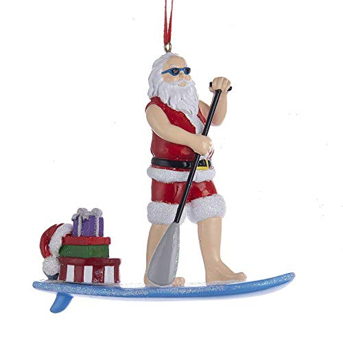 Kurt Adler Paddle Board Santa Ornament