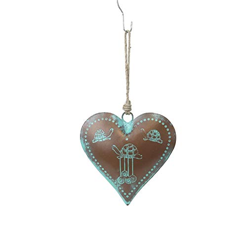 Beachcombers B22220 Metal Patina Heart with Turtles Ornament, 6-inch