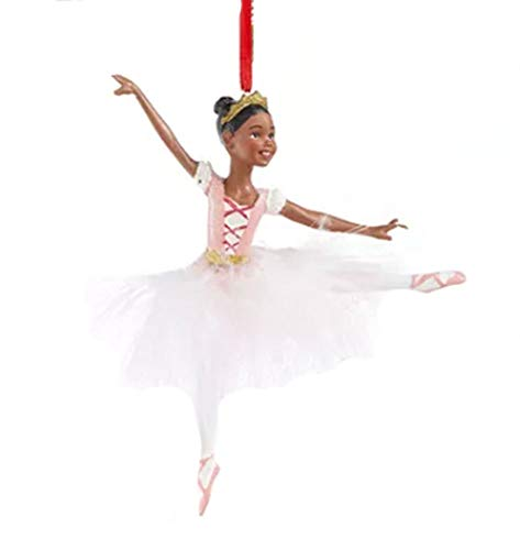 Holiday Lane Ballet Ballerina with White Feather Tutu Ornament