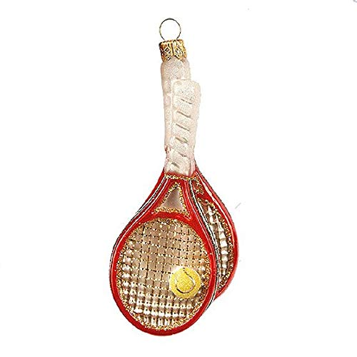 Pinnacle Peak Trading Company Tennis Rackets Polish Mouth Blown Glass Christmas Ornament Tree Decoration