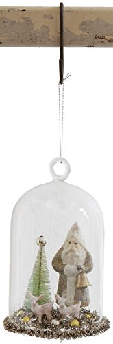 Creative Co-op Santa in Glass Cloche Ornament (Gold)