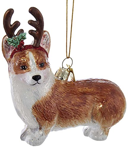 Kurt S. Adler Kurt Adler Noble Gems Pembroke Welsh Corgi with Antlers Glass Ornament