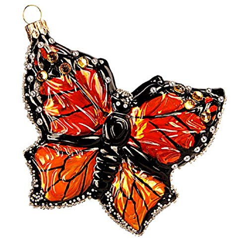 Pinnacle Peak Trading Company Monarch Butterfly Polish Glass Christmas Tree Ornament Butterflies Insect
