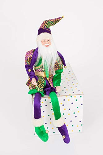 HOLIDAYS R US 18″ INCH Huge Mardi Gras Santa, Tree Topper, Ornament or Elf Santa on The Shelf Adorable!