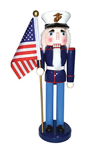 Santa's Workshop 70562 Marine Nutcracker with Flag, 14″, Multicolored