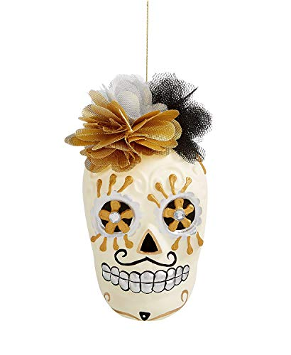 Holiday Lane Mrs. Skull Head with Flowers Day of The Dead Ornament