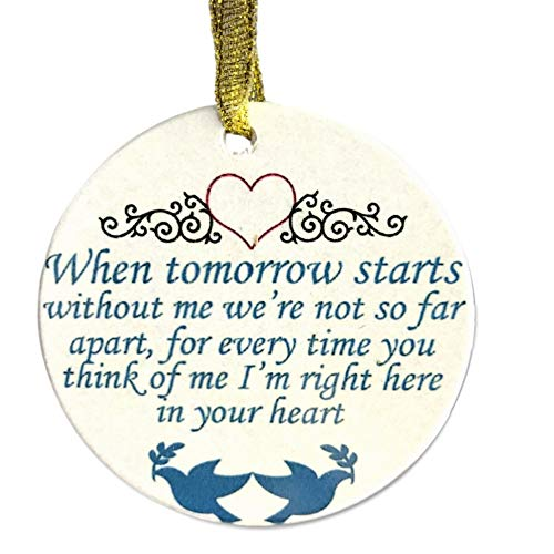 BANBERRY DESIGNS in Loving Memory Christmas Ornament – When Tomorrow Starts Without Me Saying – Memorial Christmas Ornament with Doves and Hearts