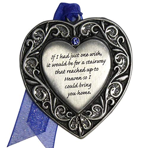 Gloria Duchin Memorial Stairway Heart Christmas Ornament, Grey and Blue