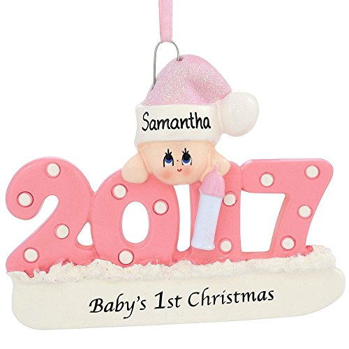 2017 Baby's First Xmas Ornament, Personalized – Pink/Girl