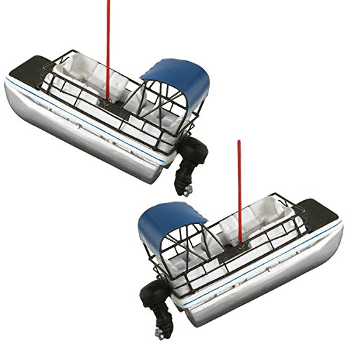 Midwest-CBK River Fishing Pontoon Party Boat Holiday Ornaments Set of 2