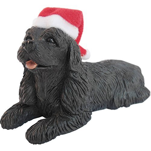Sandicast Black Cocker Spaniel with Santa Hat Christmas Ornament by Sandicast
