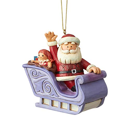 Enesco Rudolph Traditions by Jim Shore Santa In Sleigh Ornament, 3.25″