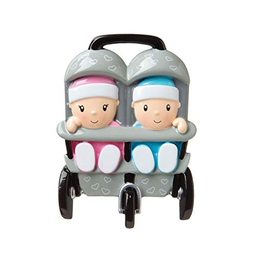 Personalized New Twins in Stroller Boy Girl Christmas Tree Ornament 2019 – Two Babies Santa Hat Carrier God Mom Shower Holiday Tradition Nursery Grand-Kid Miracle Same Toddler – Free Customization