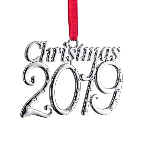 Klikel 2019 Christmas Year Ornament – Holiday Tree Decoration with Red Tie Ribbon – 1st Annual Christmas Edition