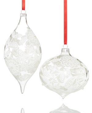Holiday Lane Set of 2 Clear Floral Ornaments