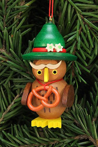 Authentic German Erzgebirge Handcraft Tree Ornaments Tree Ornament owl Bavarian – 3,2×6,2cm / 1.3×2.4inch – Christian Ulbricht