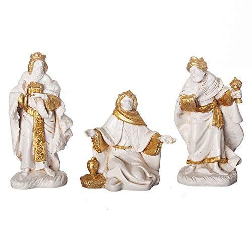 Fontanini, Nativity Figure, 3 pc Three Kings Set, Golden Edition, 5″ Scale, Collection, Handmade in Italy, Designed and Manufactured in Tuscany, Polymer, Hand Painted, Italian, Detailed